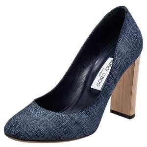 Jimmy Choo Blue Denim Laria Block Heel Pumps Size 40