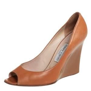 Jimmy Choo Tan Leather Wedge Peep Toe Pumps Size 39.5