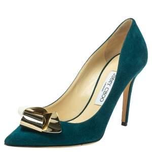 حذاء كعب عالي جيمي تشو فيسنا سويدي أخضر مقاس 37.5