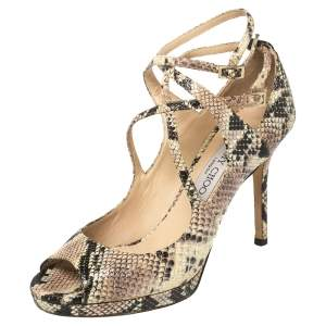 Jimmy Choo Multicolor Python Embossed Leather Strappy Peep Toe Sandals Size 36