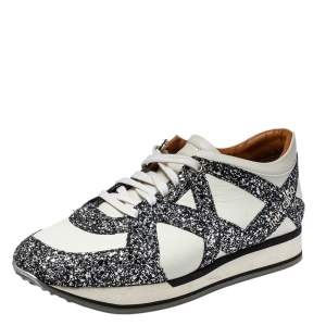Jimmy Choo White Leather And Glitter Lace Up London Sneakers Size 40