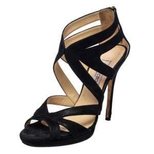 Jimmy Choo Black Glitter Suede Cutout Collar Peep Toe Sandals Size 39.5