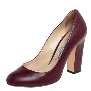Jimmy Choo Burgundy Leather Billie Pumps Size 37