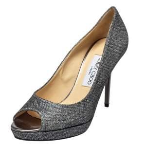 Jimmy Choo Silver Glitter Evelyn Pumps Size 38