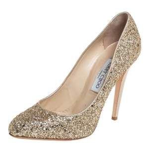 Jimmy Choo Gold Glitter And Leather Pumps Size 39.5