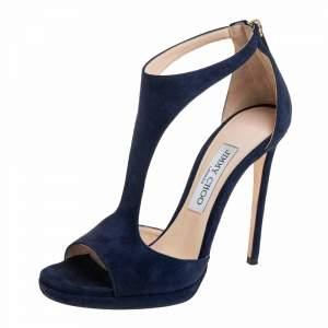 Jimmy Choo Navy Blue Suede Lana Open Toe Sandals Size 37.5
