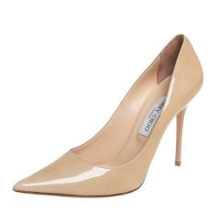 حذاء كعب عالي جيمي تشو أبيل بمقدمة مدببة جلد لامع بيج مقاس 40