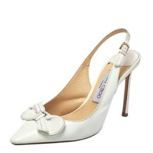 حذاء كعب عالي جيمي تشو فتحة كعب فيونكة جلد لامع أبيض مقاس 37.5