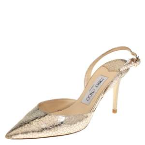 Jimmy Choo Gold Metallic Textured Leather Tilly Slingback Sandals Size 35.5
