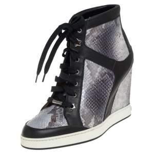 حذاء رياضي جيمي تشو كعب روكي باناما جلد نقش ثعبان وجلد ثلاثي اللون مقاس 40