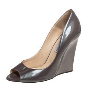 Jimmy Choo Grey Patent Leather Peep Toe Wedge Pumps Size 39.5