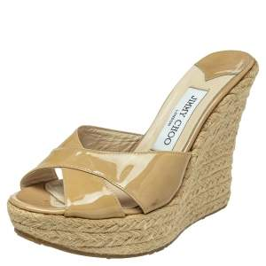 Jimmy Choo Beige Patent Leather Wedge Sandals Size 38