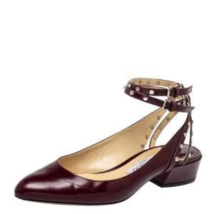 Jimmy Choo Burgundy Leather Round Toe Pumps Size 37.5
