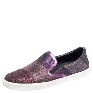 Jimmy Choo Metallic Purple Lace Demi Slip On Sneakers Size 35