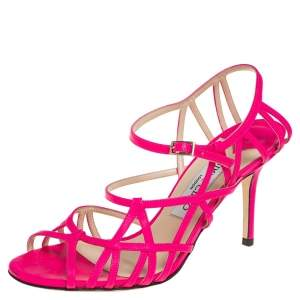Jimmy Choo Pink Leather Strappy Ankle Strap Sandals Size 36.5