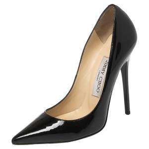 Jimmy Choo Black Patent Leather Anouk Pointed Toe Pumps Size 34.5