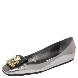 Jimmy Choo Metallic Grey Leather Crystal Embellished Gemini Flats Size 38.5