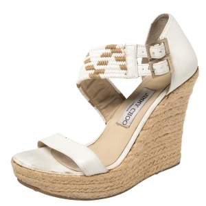 Jimmy Choo White Leather Woven Cross Strap Espadrille Wedge Sandals Size 39
