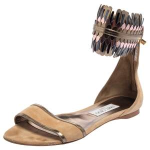 Jimmy Choo Beige Suede Kimro Fringe Ankle Cuff Flat Sandals Size 38.5