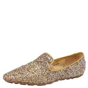 Jimmy Choo Gold Glitter Sloane Smoking Slippers Size 38