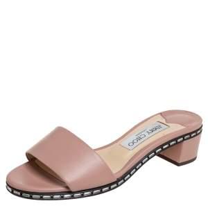 Jimmy Choo Nude Pink Leather Embellished Slide Sandals Size 36