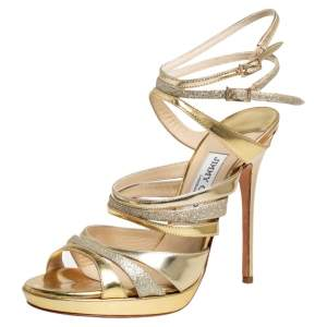 Jimmy Choo Metallic Gold Leather and Coarse Glitter Cage Open Toe Sandals Size 37.5