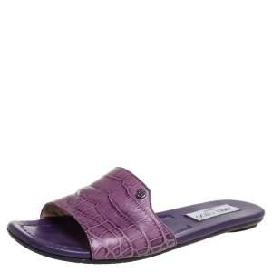 Jimmy Choo Purple Croc Embossed Leather Nanda Flat Slides Size 38.5