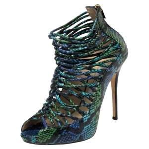 Jimmy Choo Two Tone Python Leather Quaker Elaphe Open Toe Sandals Size 39