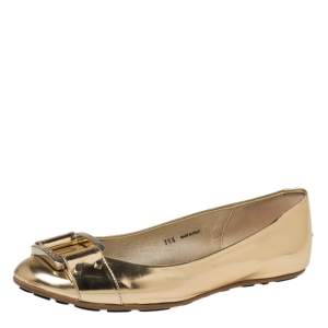 Jimmy Choo Gold Leather Buckle Ballet Flats Size 38.5
