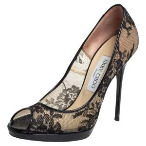 Jimmy Choo  Lace And Patent Leather Luna Pumps Size 37.5