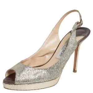 Jimmy Choo Silver Fabric Nova Peep Toe Platform Slingback Sandals Size 37.5