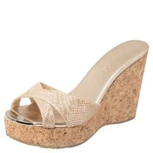 Jimmy Choo Metallic Gold Python Embossed Suede Pandora Cork Wedges Slide Sandals Size 38.5
