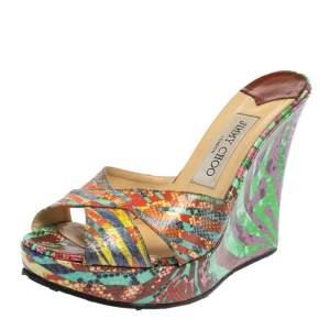 Jimmy Choo Multicolor Snakeskin Embossed Leather Wedge Slide Sandals Size 39