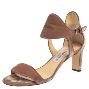 Jimmy Choo Pale Pink Velvet Molly Sandals Size 39