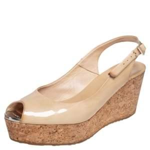 Jimmy Choo Nude Beige Patent Leather Cork Platform Wedge Sandals Size 37.5