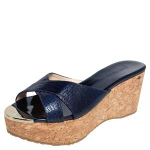 Jimmy Choo Metallic Blue Lizard Embossed and Leather Perfume Cork Wedge Sandals Size 39