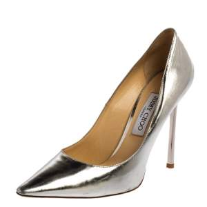 Jimmy Choo Silver Leather Romy  Pumps Size 39.5