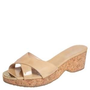 Jimmy Choo Beige Patent Leather Perfume Cork Wedge Platform Slide Sandals Size 39