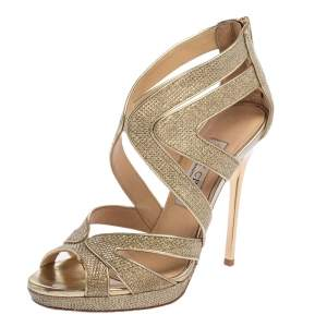 Jimmy Choo Gold Glitter And Leather Lance Strappy Sandals Size 35.5