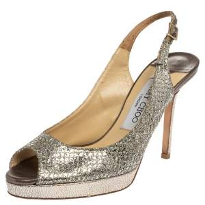 Jimmy Choo Metallic Gold Lamè Glitter Fabric Nova Peep Toe Platform Slingback Sandals Size 36