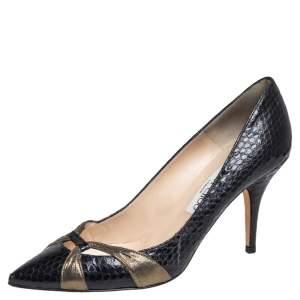 حذاء كعب عالي جيمي تشو ليزي جلد ثعبان أسود مقاس 39