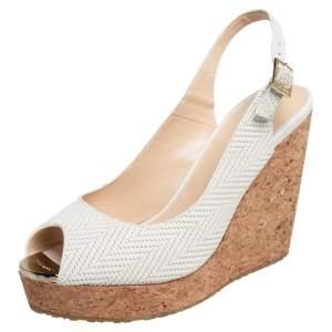 Jimmy Choo White Woven Leather Prova Cork Wedge Sandals Size 37.5
