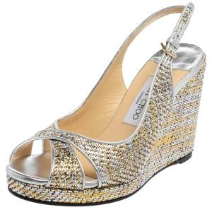 Jimmy Choo Sliver And Gold Leather Amely Sandals Size 39