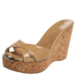Jimmy Choo Beige Patent Leather Perfume Cork Wedges Sandals Size 38