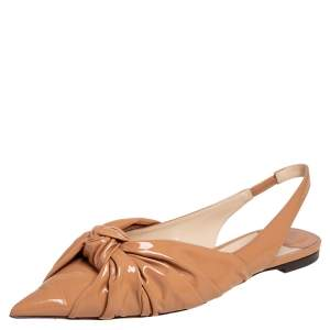 Jimmy Choo Beige Patent Leather Knot Slingback  Sandals Size 40.5