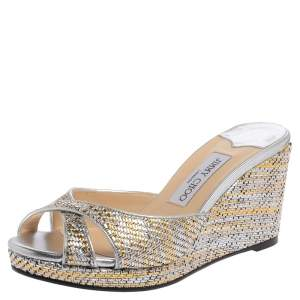 Jimmy Choo Silver/Gold Woven Raffia  Almer Wedge Sandals Size 38