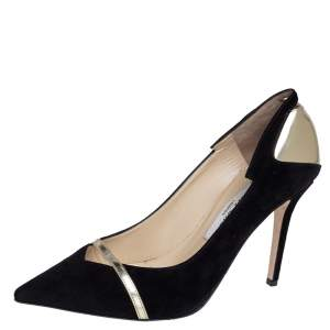 Jimmy Choo Black/Gold Suede Leather Cut Out Detail Pointed Toe Pumps Size 37.5