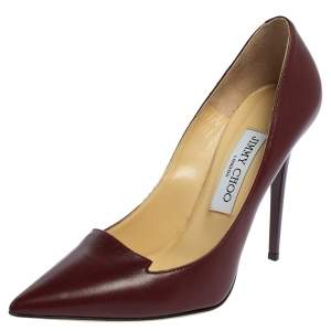 Jimmy Choo Maroon Leather Avril Pointed Toe Pumps Size 37