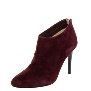 Jimmy Choo Burgundy Suede Ankle Boots Size 37