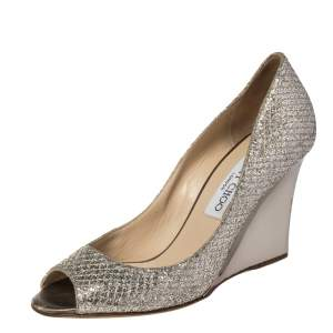 Jimmy Choo Metallic Gold Glitter Baxen Peep Toe Wedge Pumps Size 36